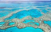 Great Barrier Reef with blue ocean