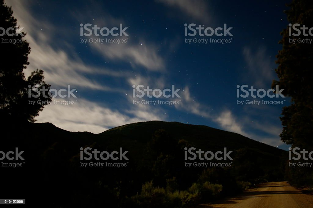 Great Basin National Park on a moon soaked night stock photo