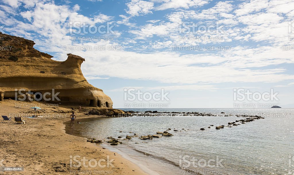 Great  beach for families with small kids in Murcia, Spain. stock photo