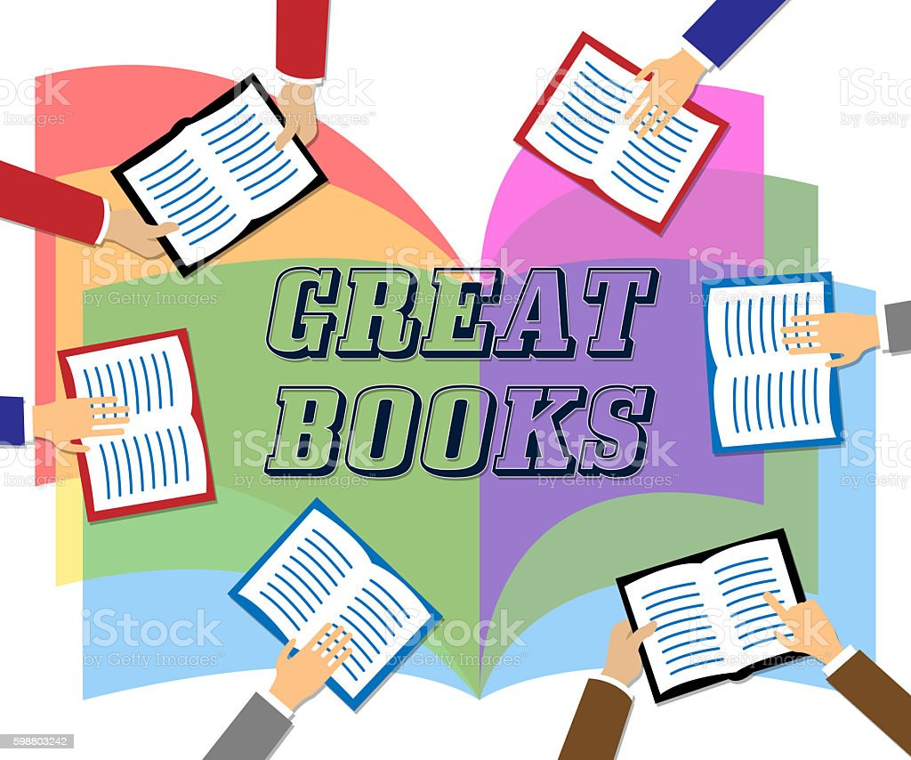 Great Books Indicates Agreeable Like And Wonderful stock photo