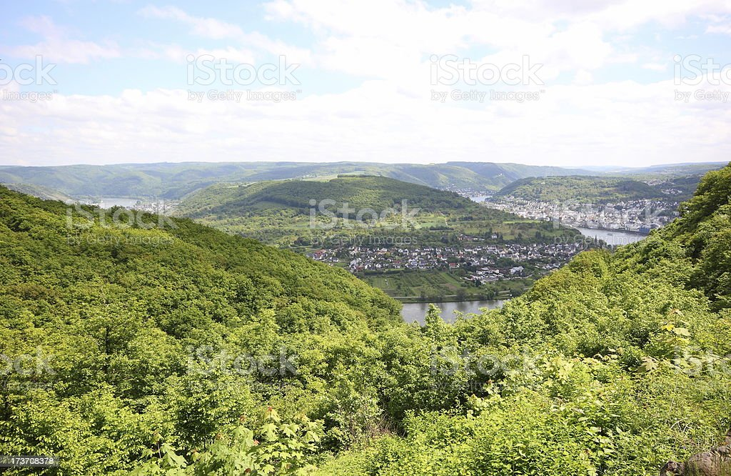 Great bow of the Rhine Valley near Boppard, Germany. royalty-free stock photo