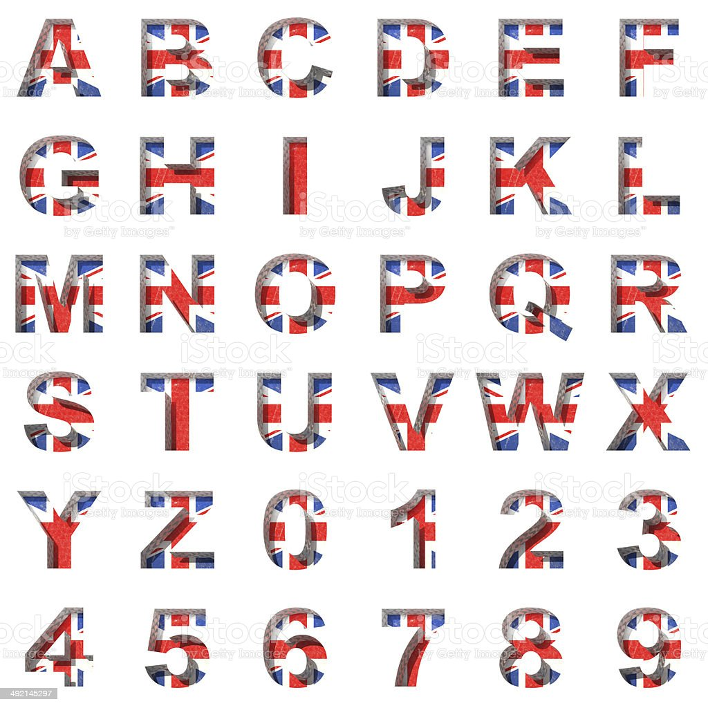 Great Britain alphabet on white background stock photo