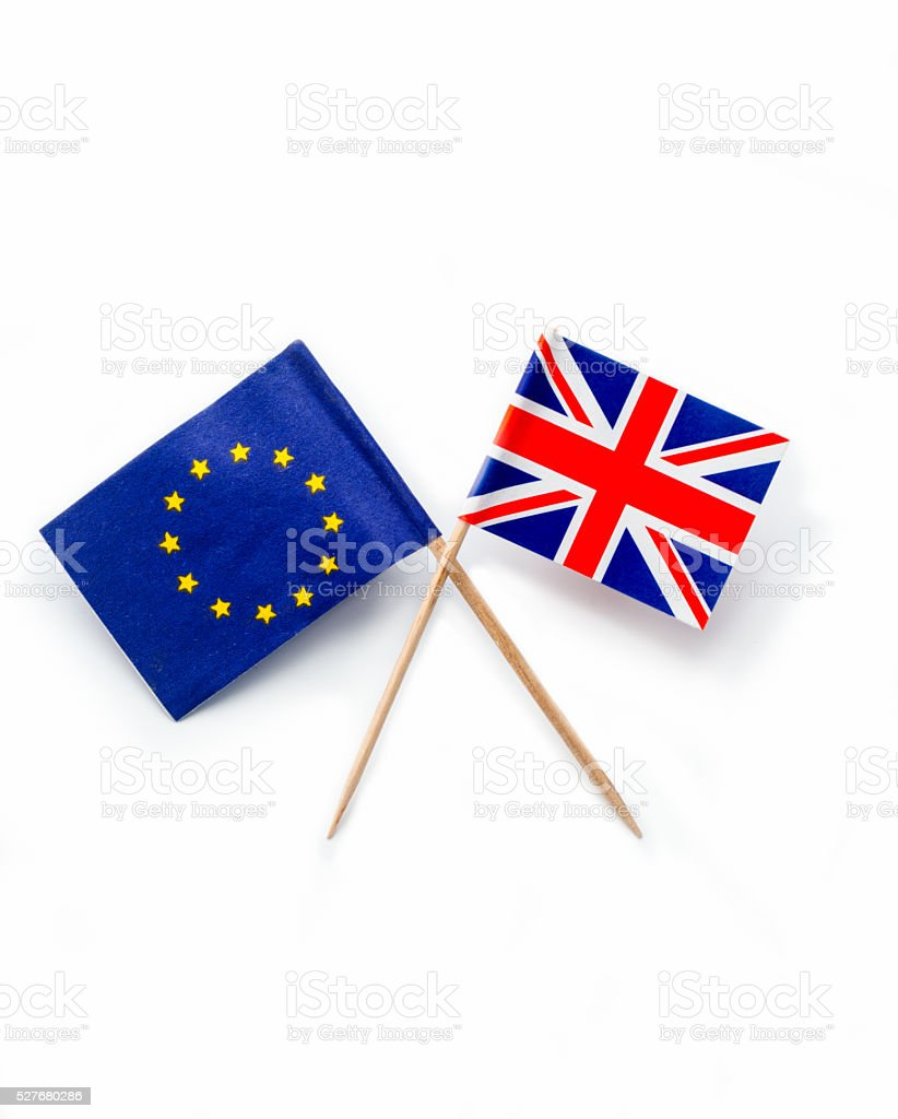 Great Britain and European Union flags isolated on white stock photo