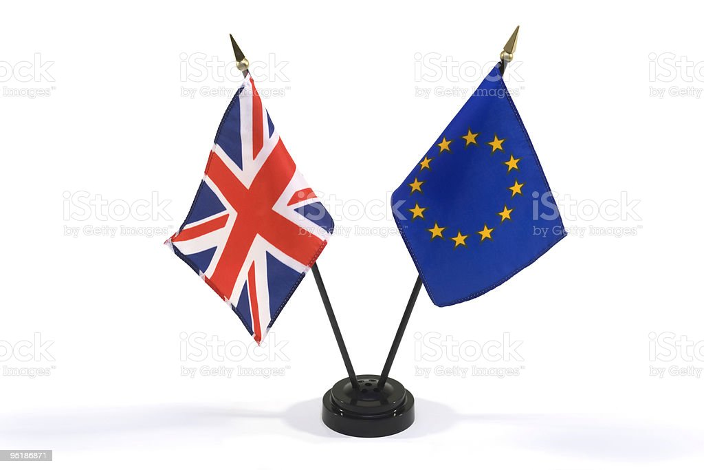 Great Britain and European Union flags isolated on white royalty-free stock photo