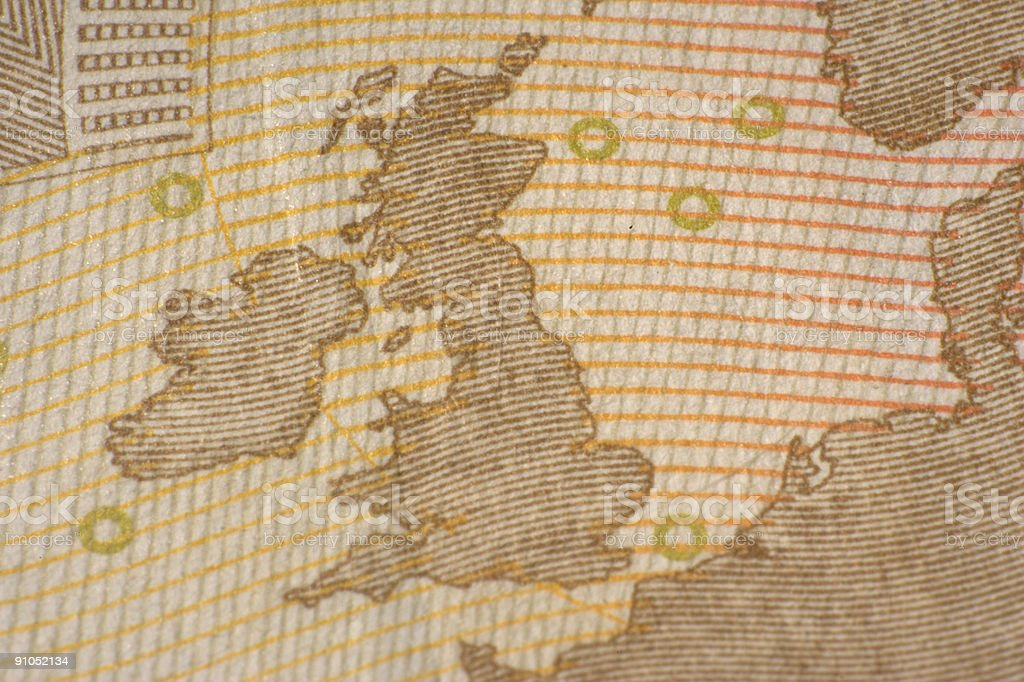 Great Britain and Ireland on a 50 euro note royalty-free stock photo