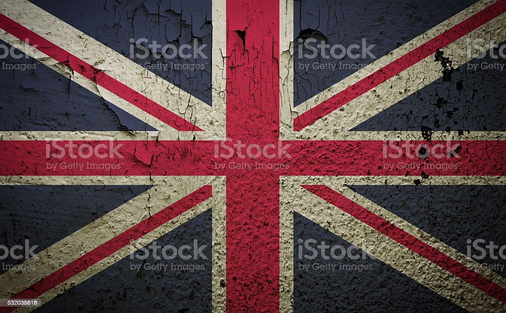 Great britain flag on old grunge wall background stock photo