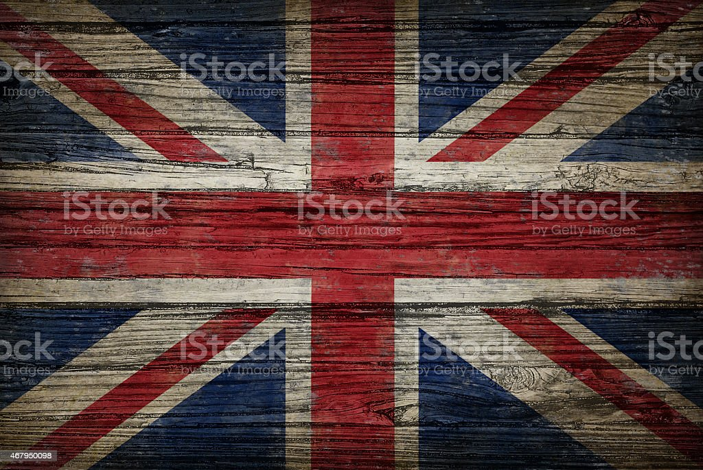 Great Britain Old Wood Flag stock photo