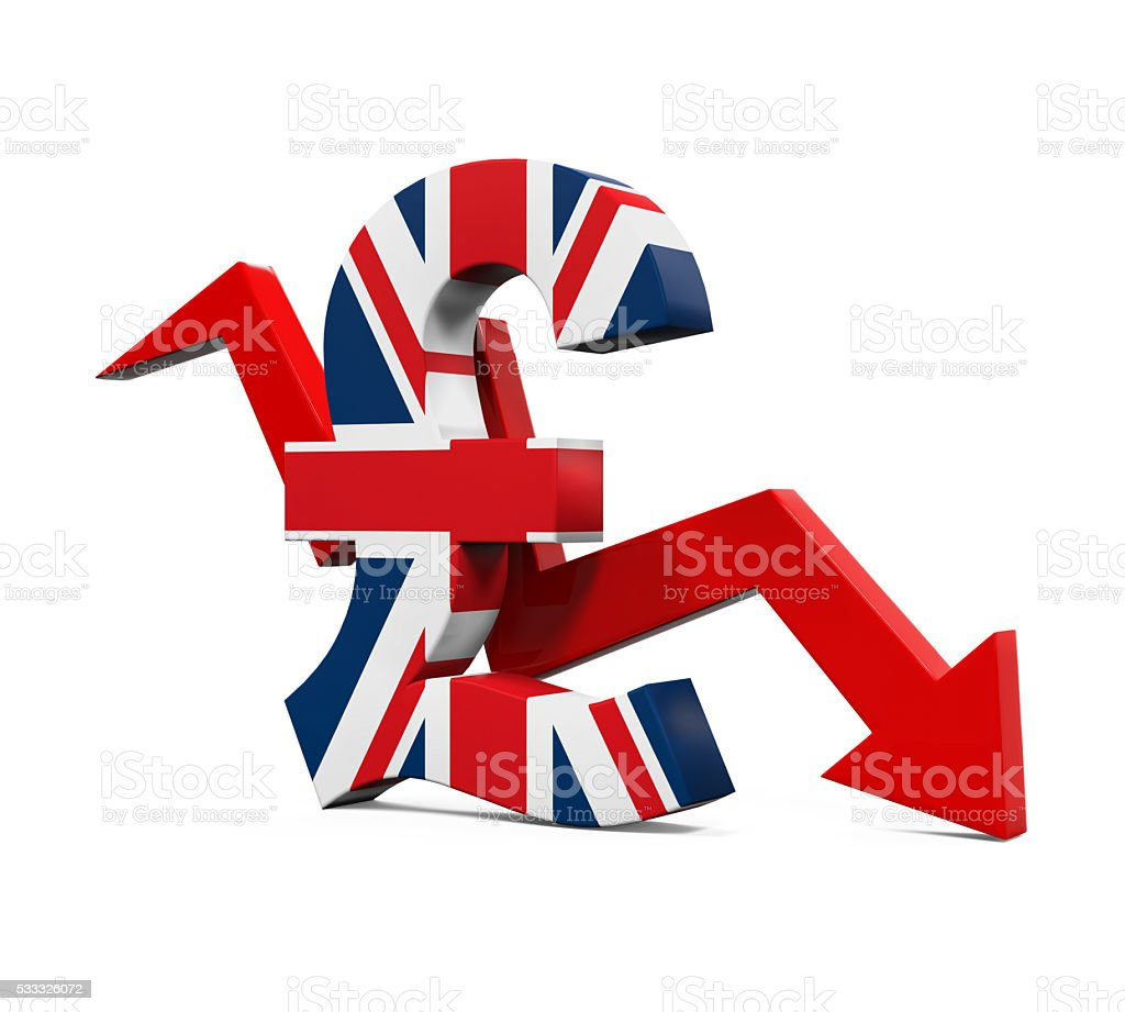 Great Britain Pound Symbol and Red Arrow stock photo
