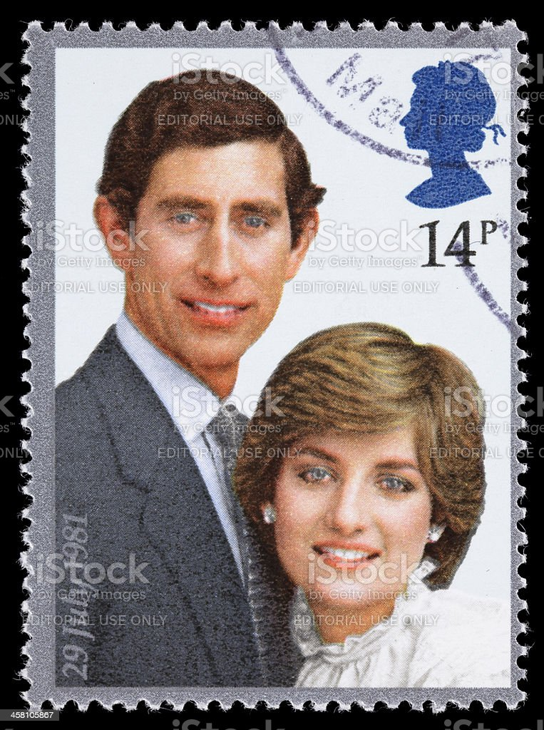 Great Britain Prince Charles and Diana royal wedding postage stamp stock photo
