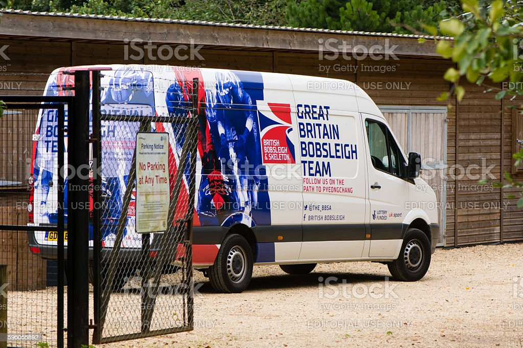 Great British Bobsleigh Team van at Bath University stock photo