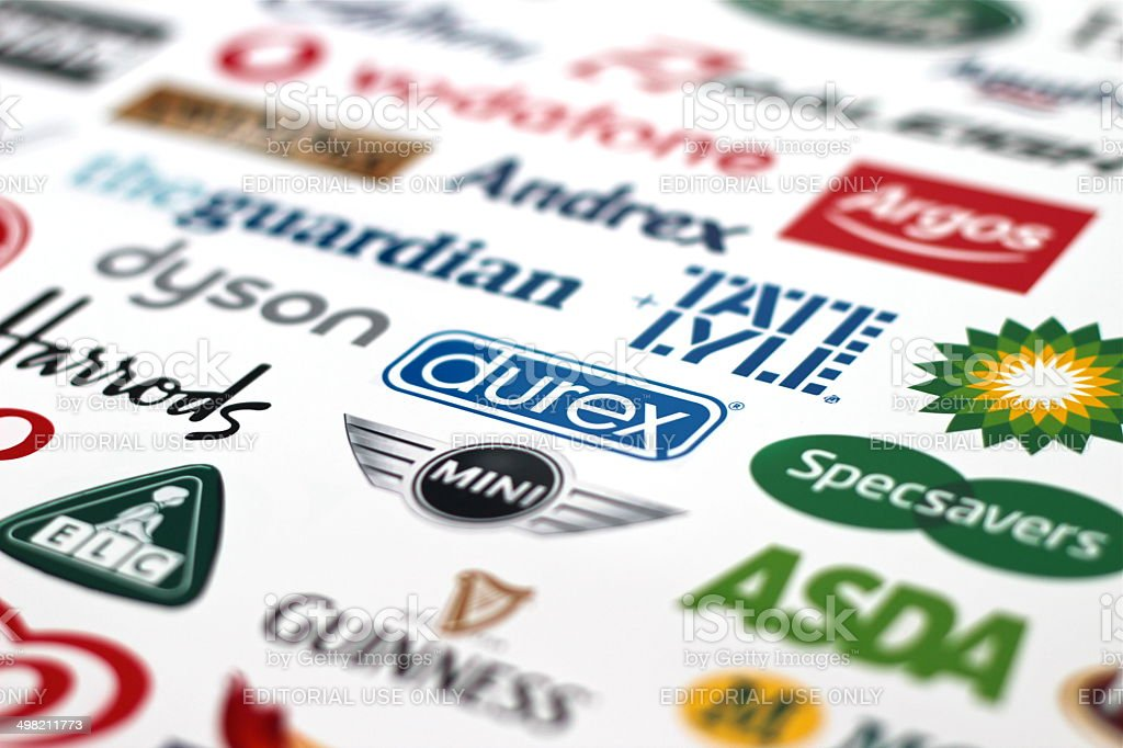 Great British Companies Logotypes stock photo