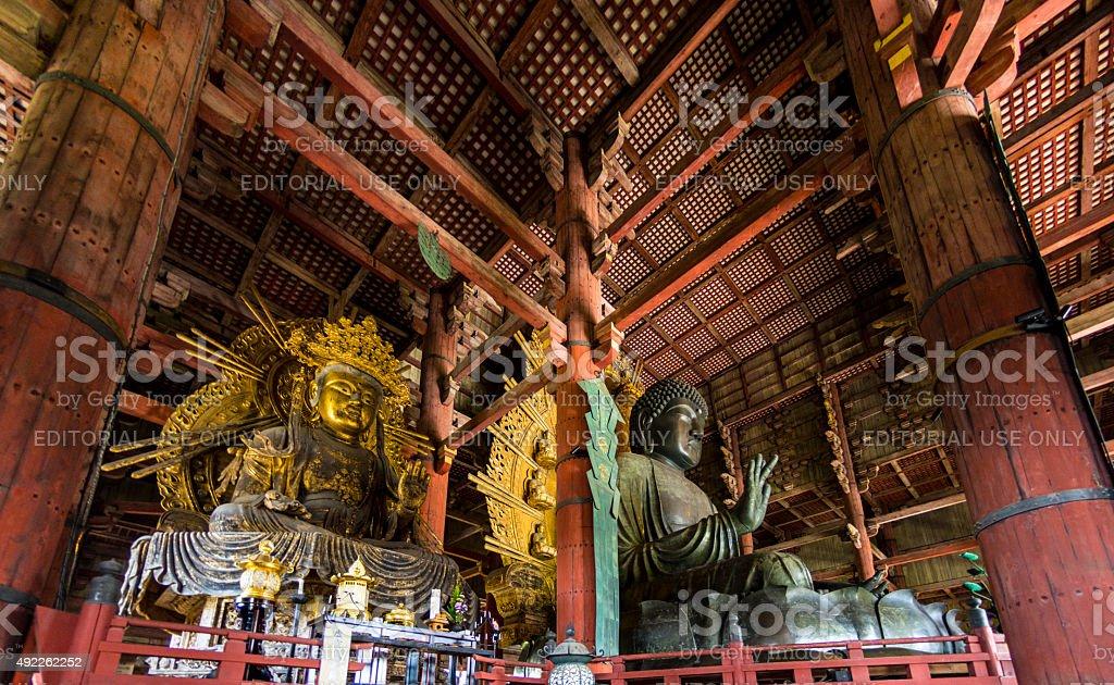 Great Buddha and kokuzo bodhisattva stock photo