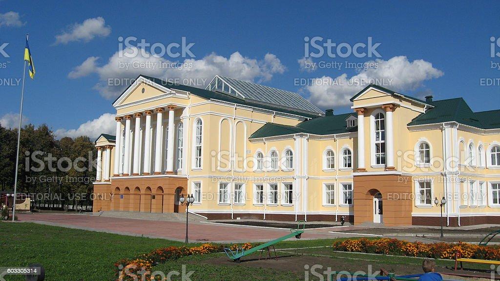 great building of school in Sedniv village, Chernihiv region stock photo