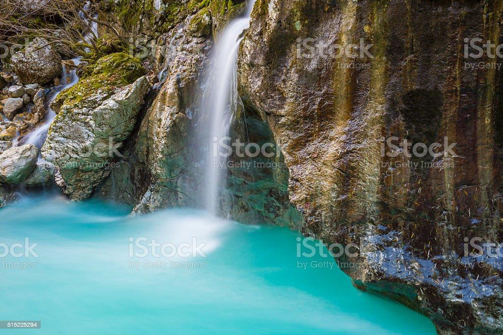 Great canyon of Soca river, Slovenia stock photo