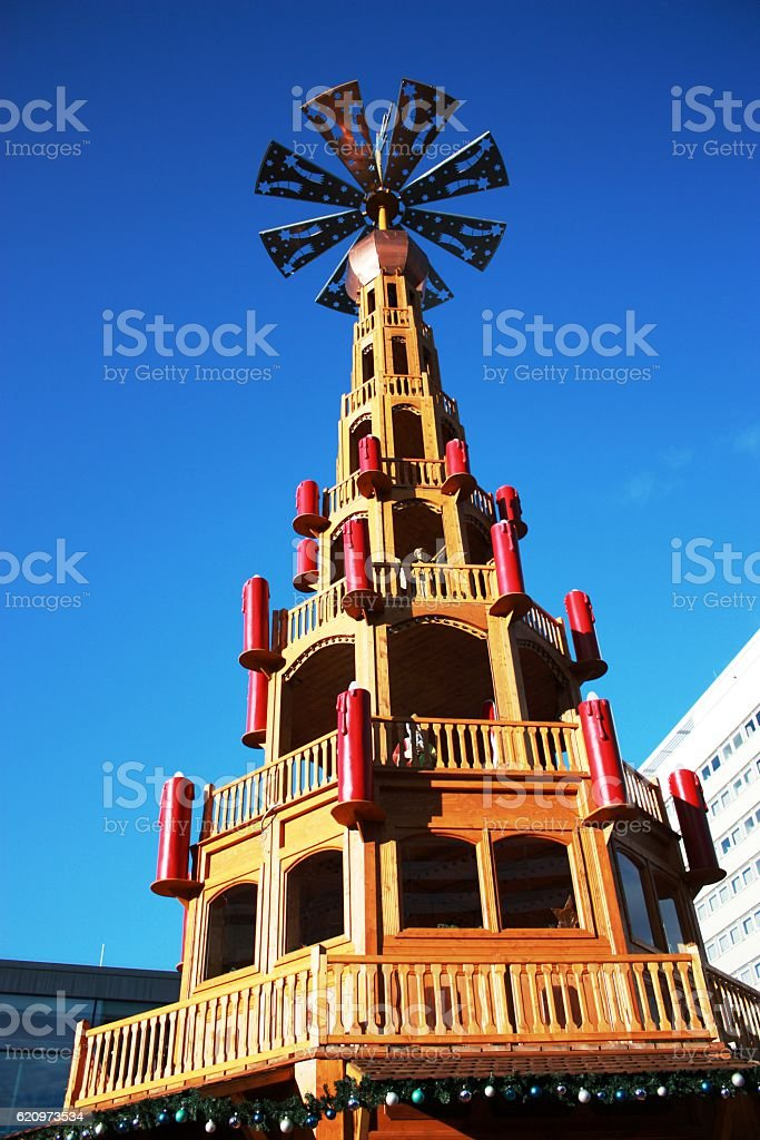 Great Christmas pyramid on the Christmas market, Germany stock photo
