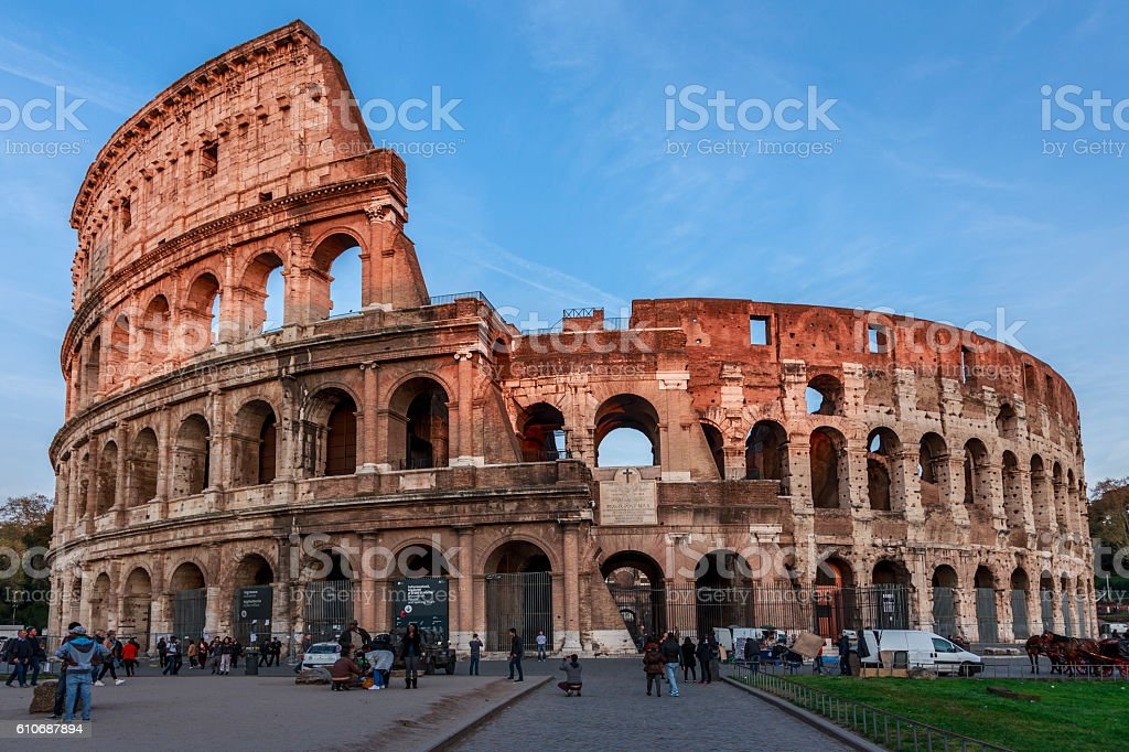 Great Colosseum at dusk stock photo