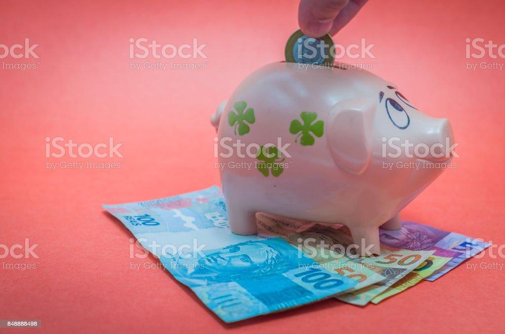 Great concept of economy in orange background stock photo