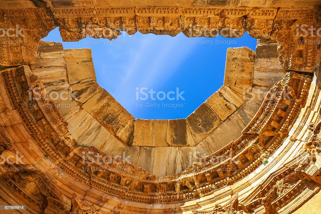 Great Court in Baalbek Lebanon Architectural Detail of Exedra Ceiling stock photo