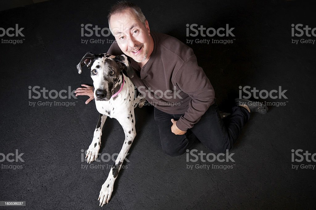 Great Dane and Owner stock photo