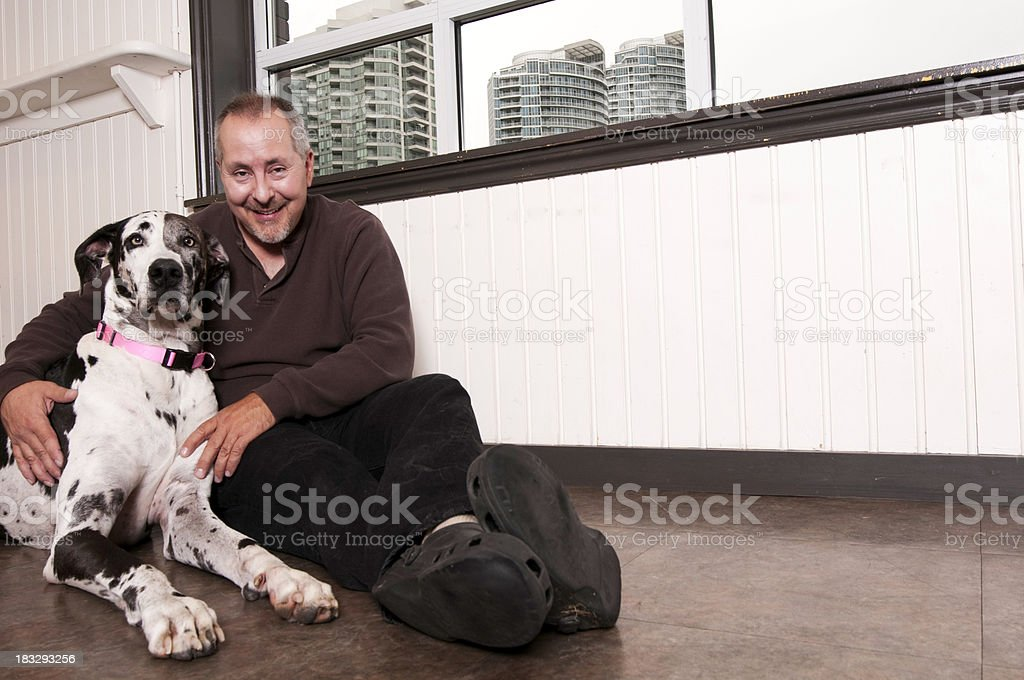 Great Dane and Owner Portrait stock photo
