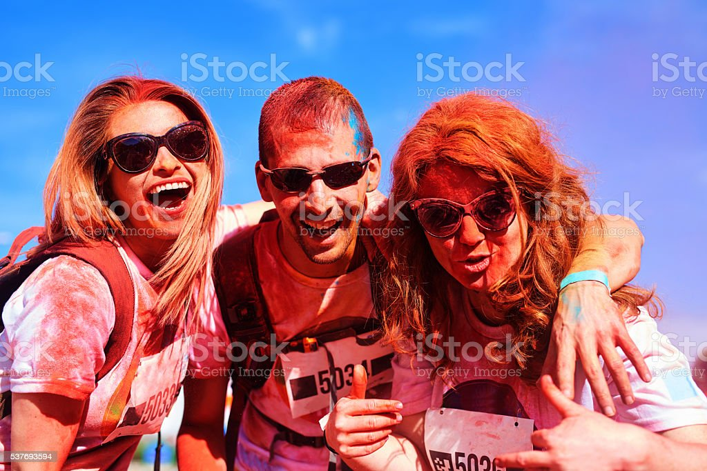 great day at the holi color festival stock photo