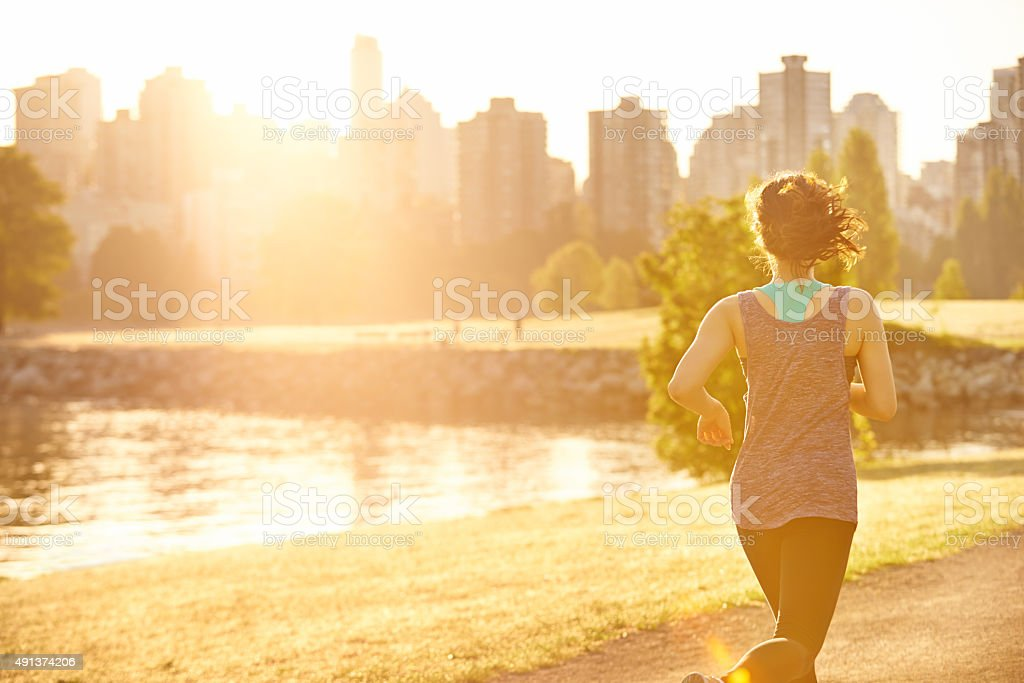 Great day for a run stock photo