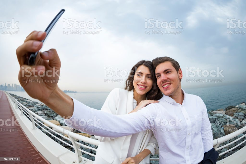 Great day for a selfie with my favorite colleague stock photo