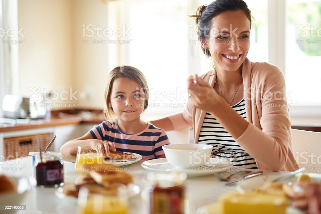 Great days begin with family breakfasts stock photo