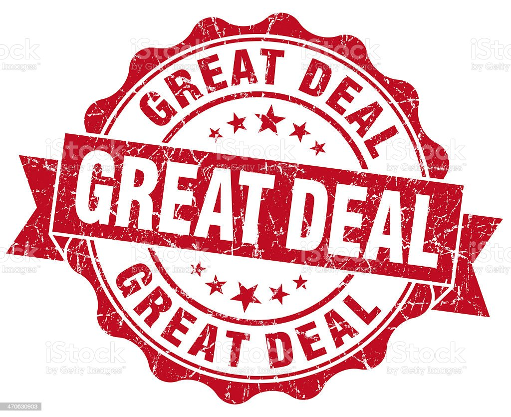 Great deal red grunge vintage seal stock photo