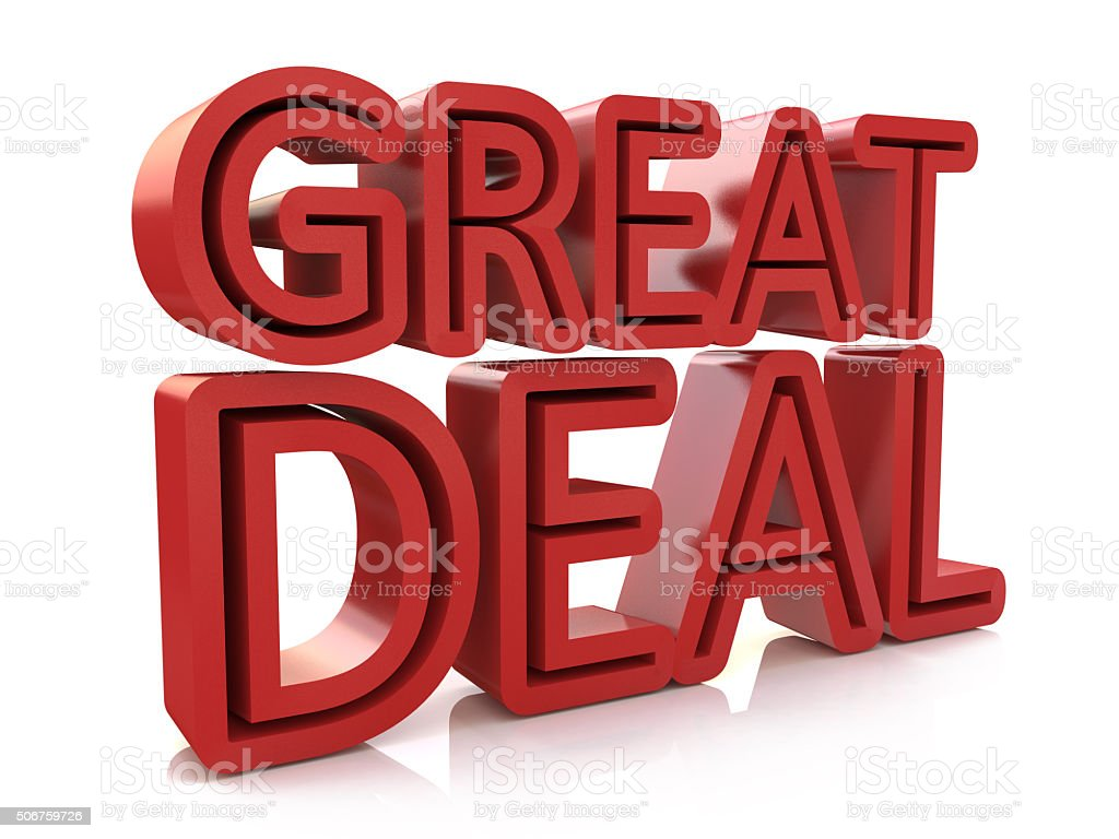 3D great deal word on white isolated background stock photo