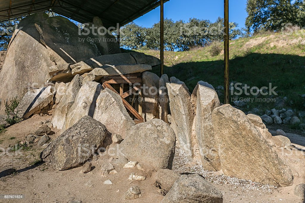 Great Dolmen of Zambujeiro stock photo