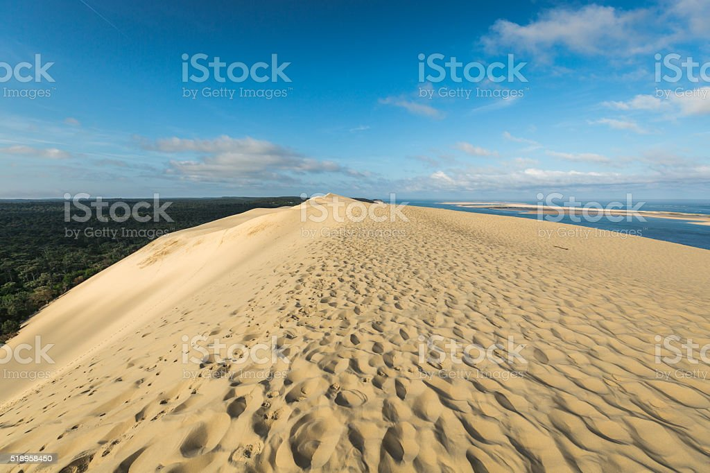 Great Dune of Pyla, the tallest sand dune in Europe, stock photo