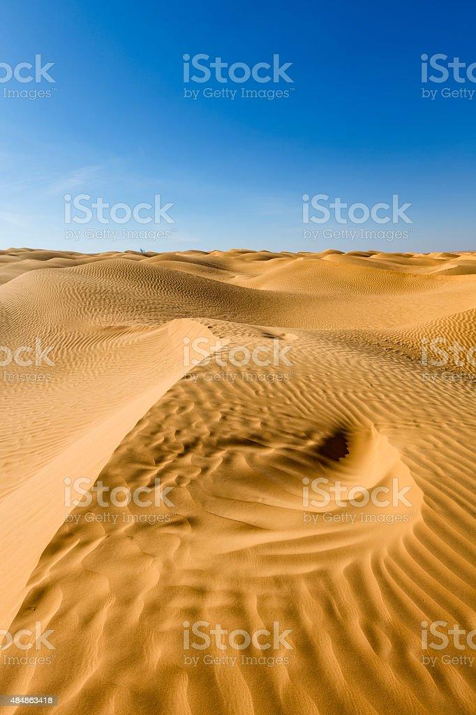 Great Eastern Sand Sea in the Sahara Desert of Tunisia stock photo