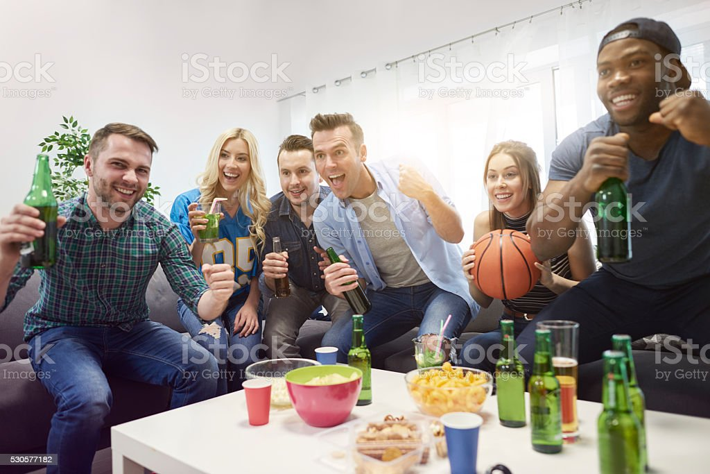 Great evening with friends and basketball stock photo