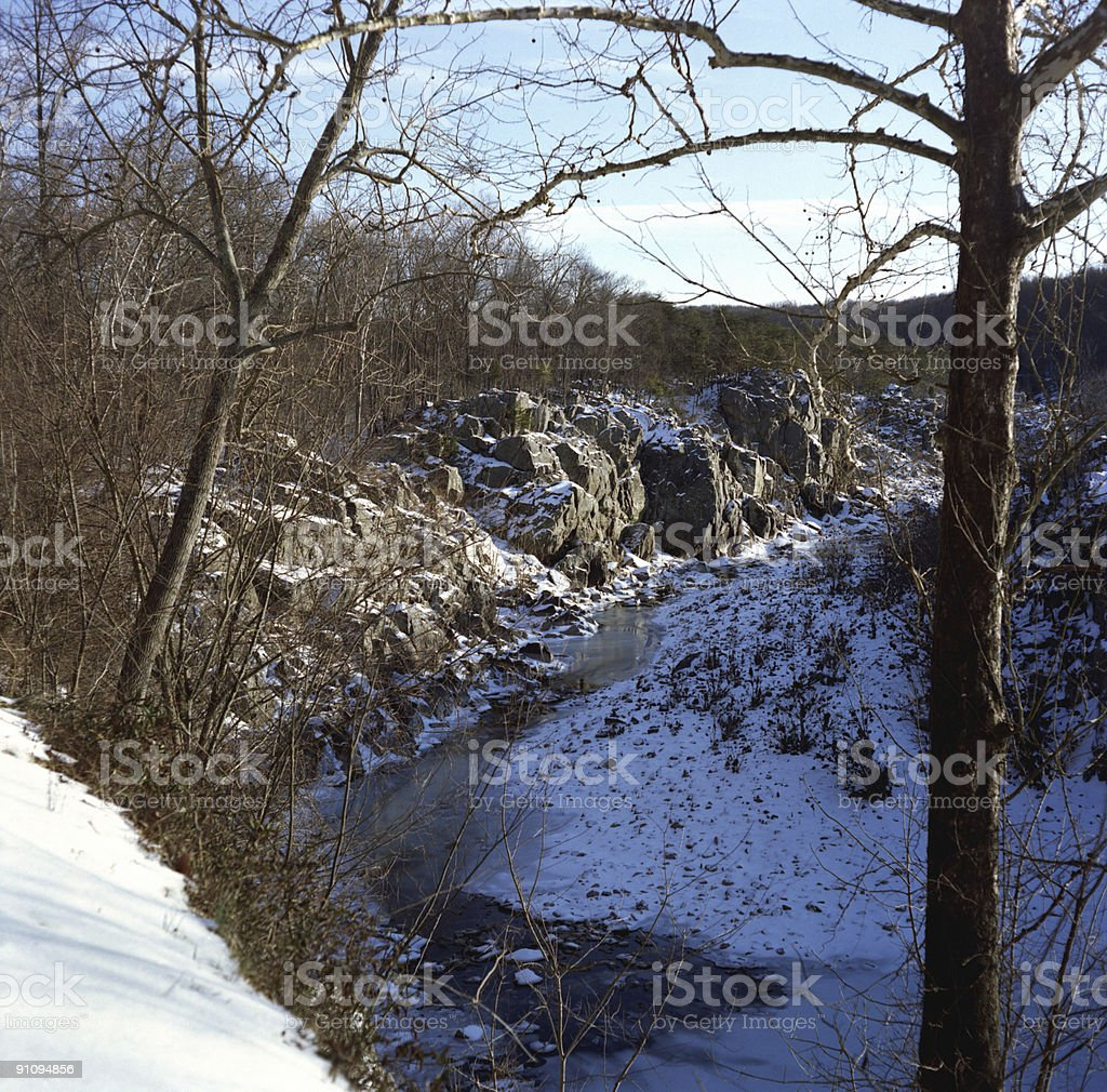 Great Falls Gorge-February stock photo