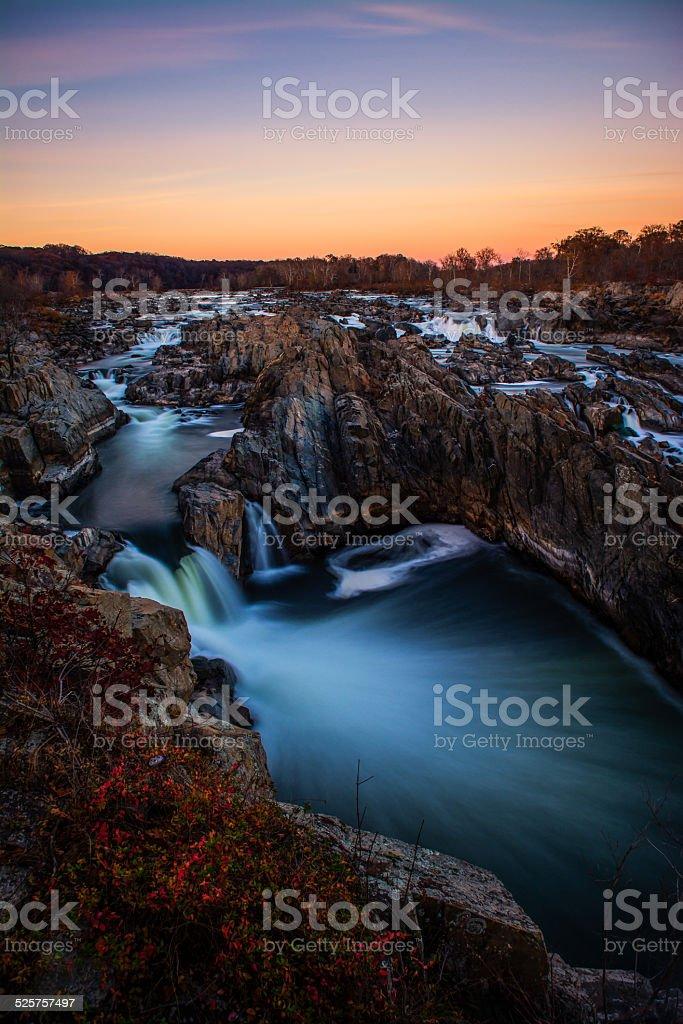 Great Falls National Park Virginia Winter Sunset Potomac River Photograph stock photo