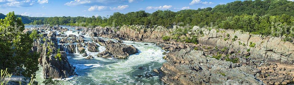 Great Falls of the Potomac Panorama stock photo