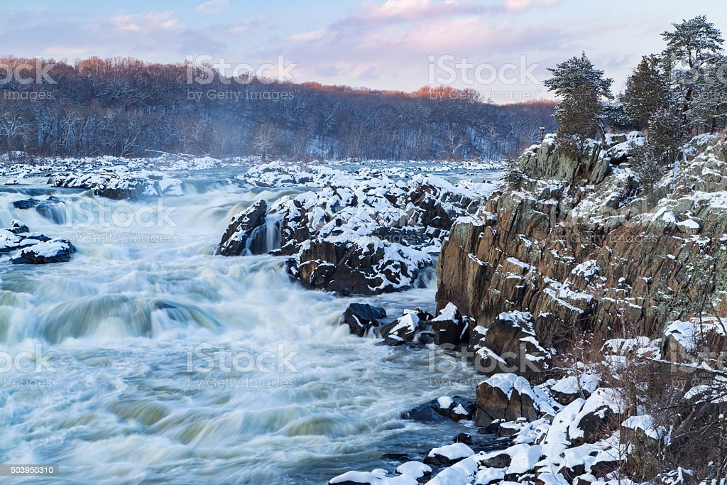 Great Falls of the Potomac River in Winter stock photo