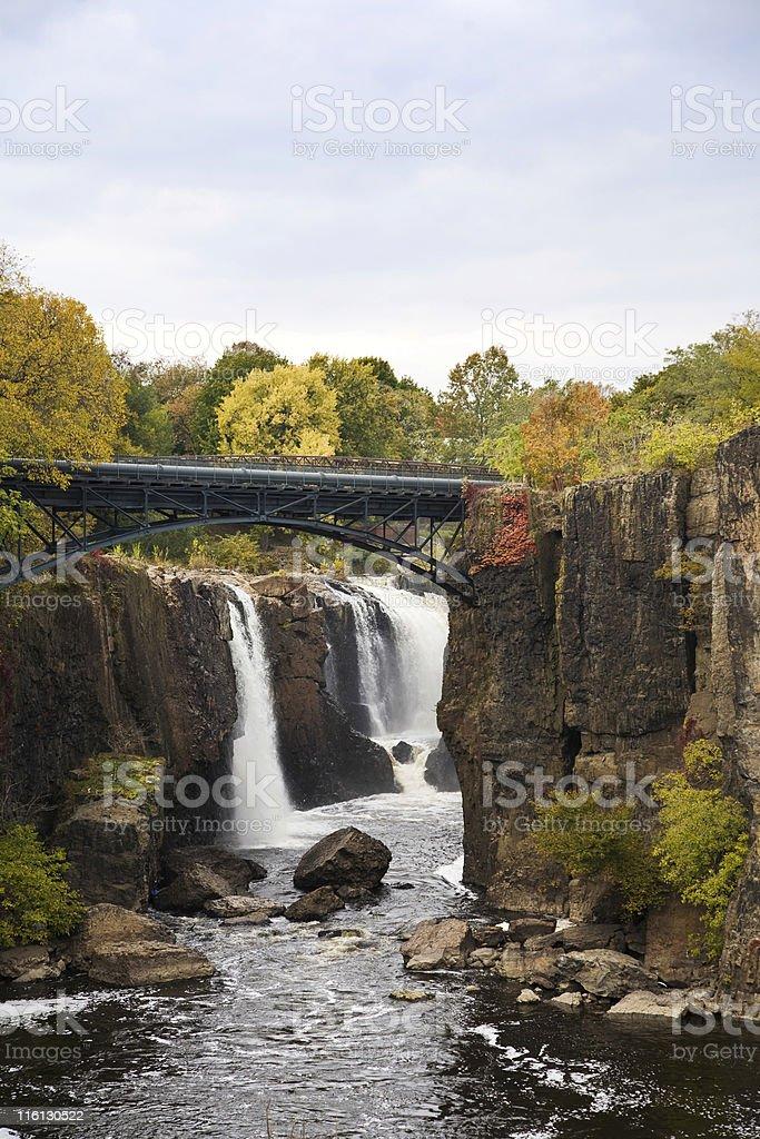 Great Falls with Bridge stock photo