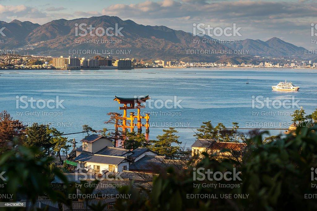 Great floating gate (O-Torii) and Hiroshima city view from Miyaj stock photo