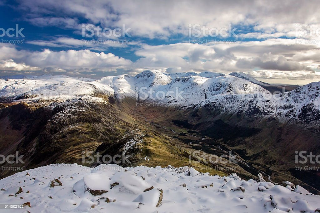 Great Gable from Seat in Winter stock photo