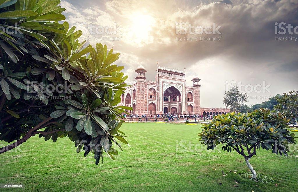 Great gate of Taj Mahal at beautiful sky in India stock photo