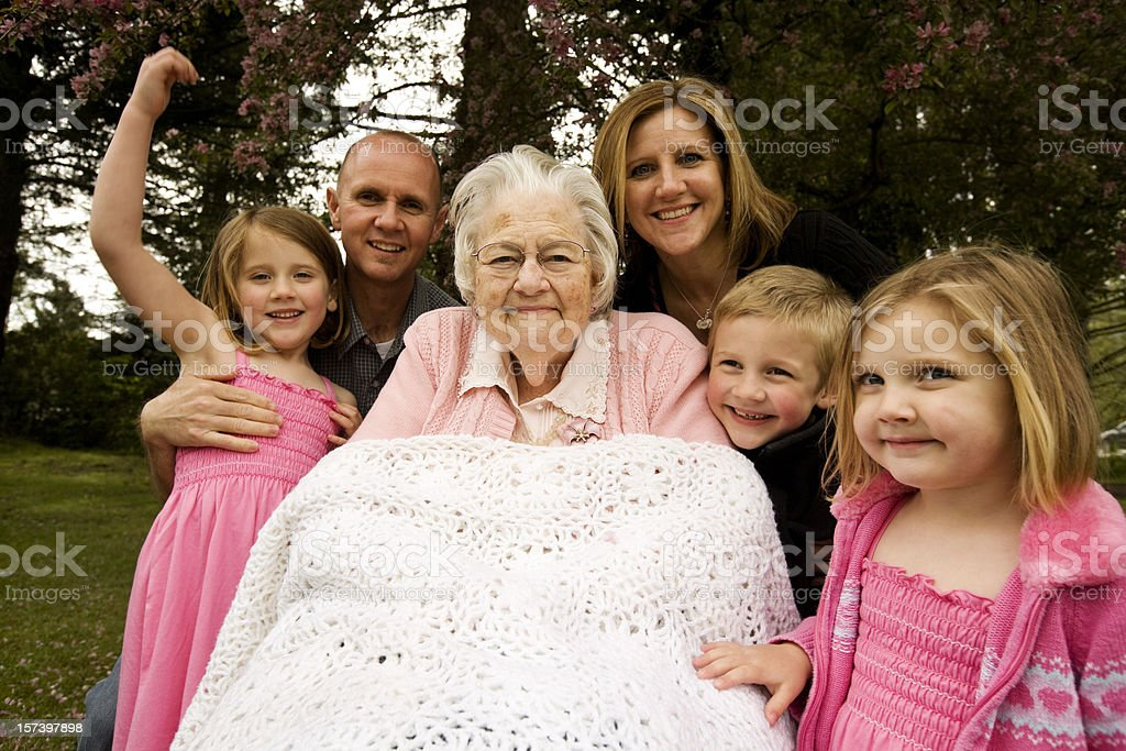 Great Grandmother and extended family children adults offspring outdoors royalty-free stock photo