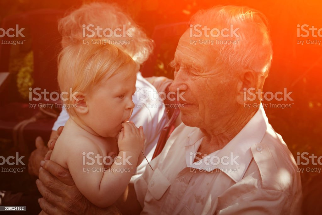 Great Grandparents with baby stock photo