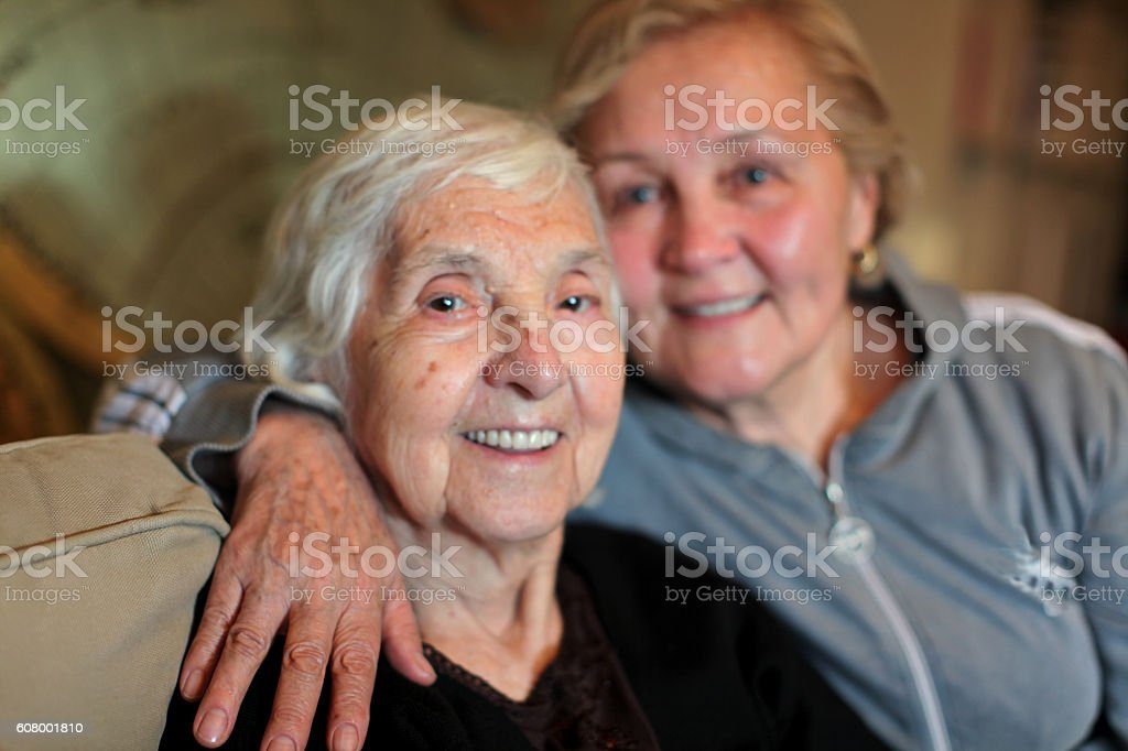 great granmother and daughter stock photo