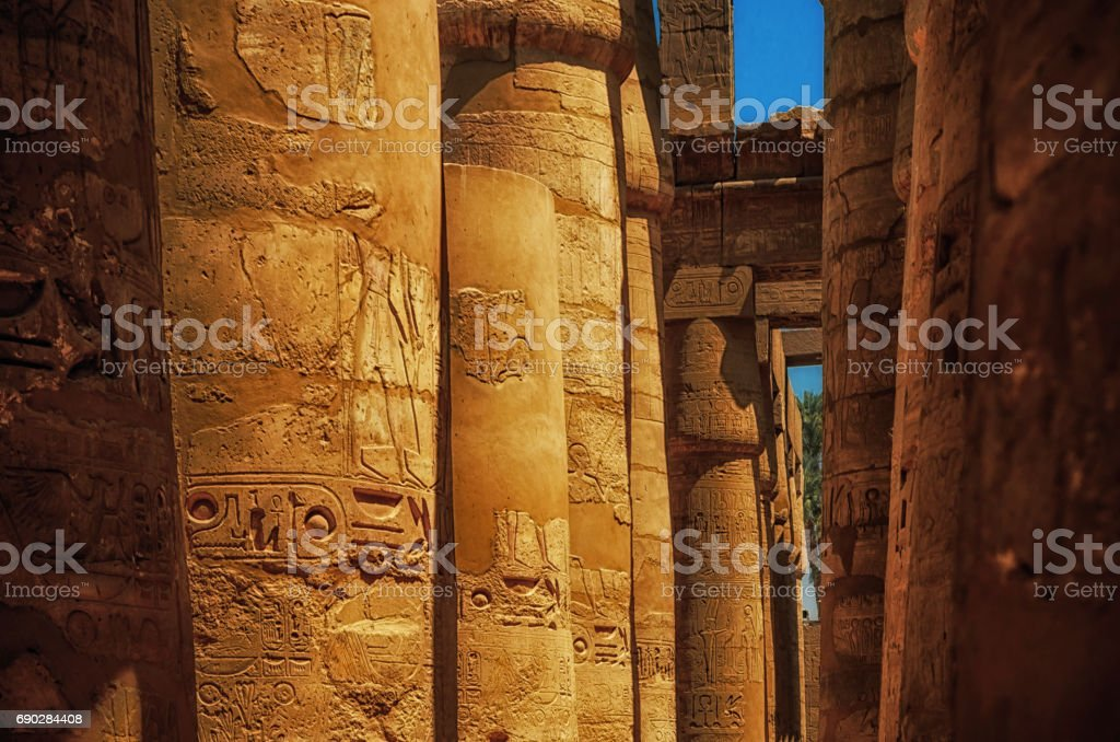Great Hypostyle Hall at the Temples of Karnak (ancient Thebes). Luxor, Egypt stock photo
