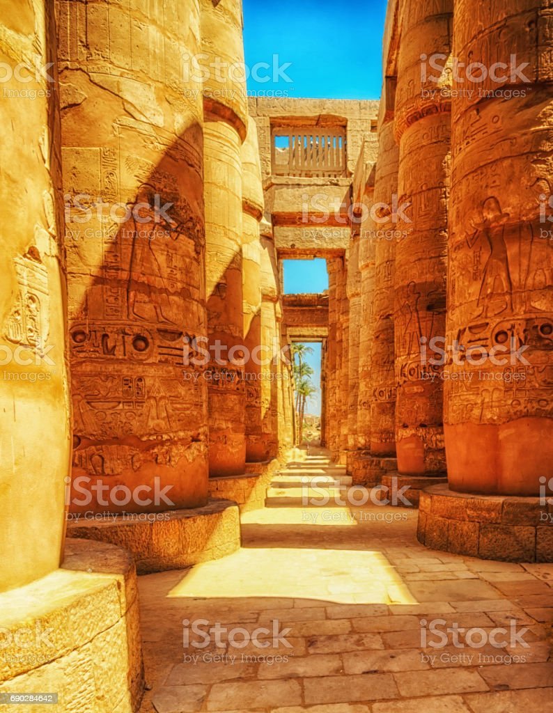 Great Hypostyle Hall at the Temples of Luxor (ancient Thebes). Columns of Luxor temple in Luxor, Egypt stock photo
