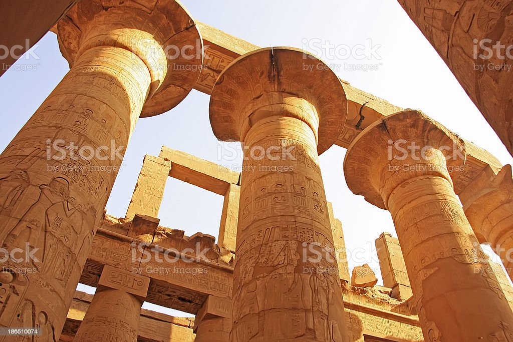 Great Hypostyle Hall, Karnak temple complex, Luxor royalty-free stock photo