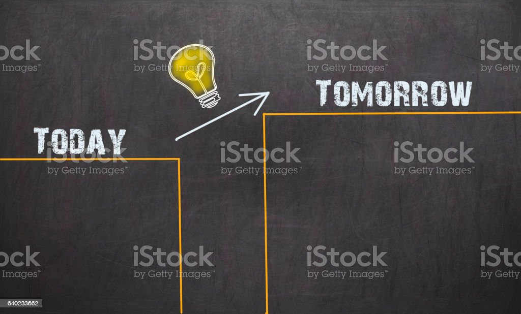 Great Idea Change Concept - Today and Tomorrow stock photo