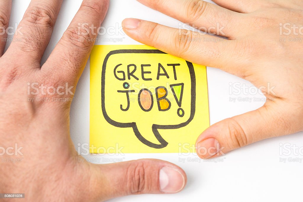 Great job! message with two hands. stock photo